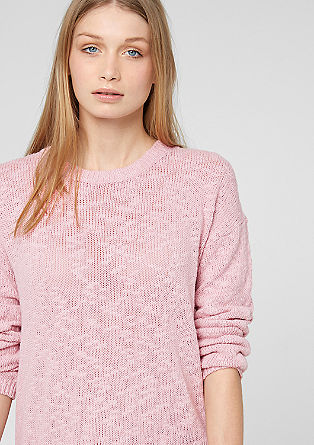 Knit jumper with a crêpe insert from s.Oliver