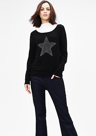Knit jumper with a studded star from s.Oliver