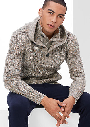 Knit jumper with collar and hood from s.Oliver