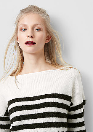 Knit jumper with fancy yarn stripes from s.Oliver