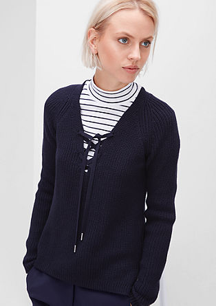 Knit jumper with lacing from s.Oliver