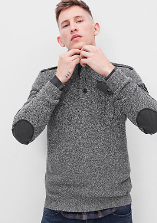 Knit jumper with military details from s.Oliver