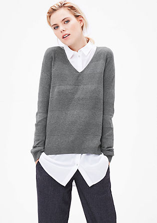 Knit jumper with textured stripes from s.Oliver