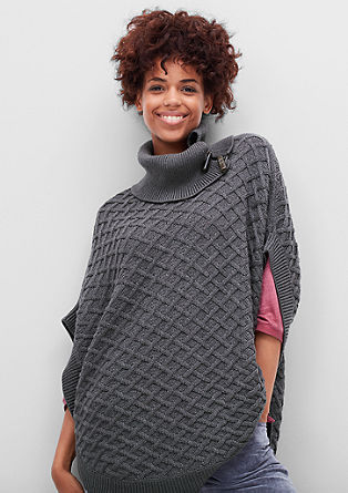 Knit poncho with a woven pattern from s.Oliver