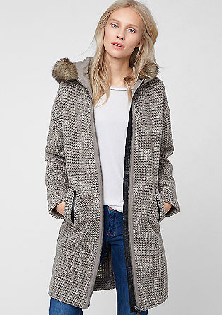 Knit wool coat with fake fur from s.Oliver