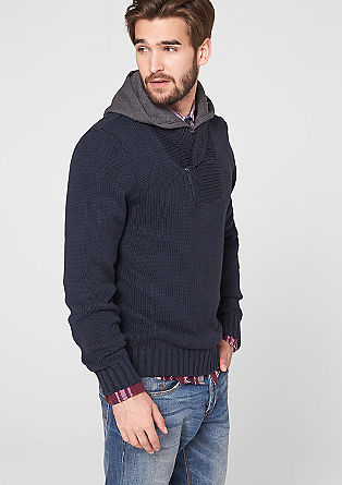 Knitted funnel neck with a jersey hood from s.Oliver