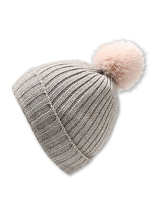 Knitted hat with a fake fur pompom from s.Oliver