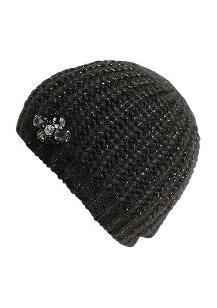 Knitted hat with gemstones from s.Oliver