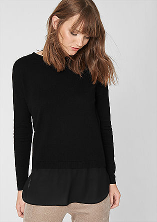 Knitted jumper with a chiffon trim from s.Oliver
