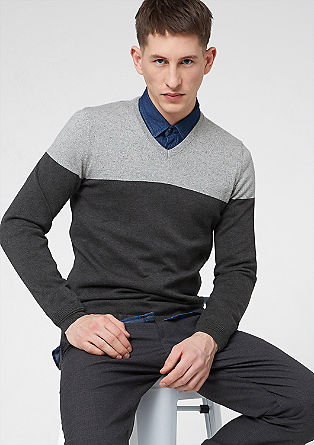 Knitted jumper with a contrasting yoke from s.Oliver