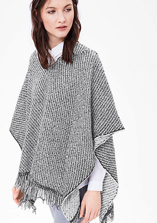 Knitted poncho with a hood from s.Oliver