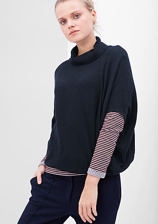 Knitted poncho with a polo neck from s.Oliver