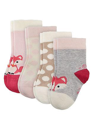 Komplet 4 parov nogavic z vzorcem za dojenčke