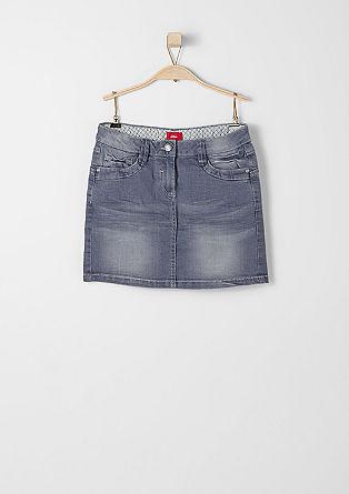 Korte denim rok in een used look