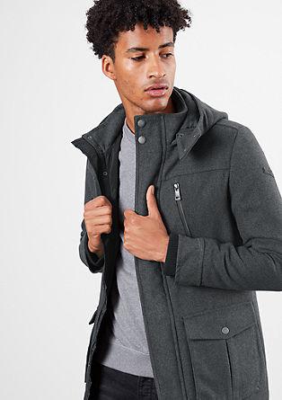 Korte mantel met een look van wollige fleece