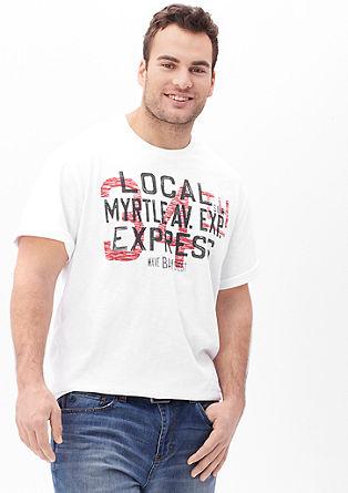 Kratka majica iz plamenaste preje z obrabljenim potiskom