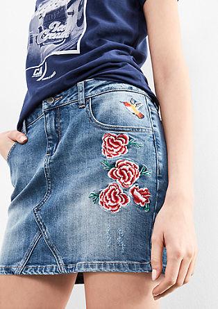 kratko jeans krilo z umetniškimi elementi
