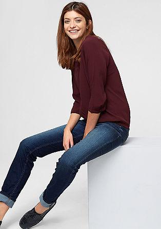 Krep bluza z detajlom luknjičastega vzorca