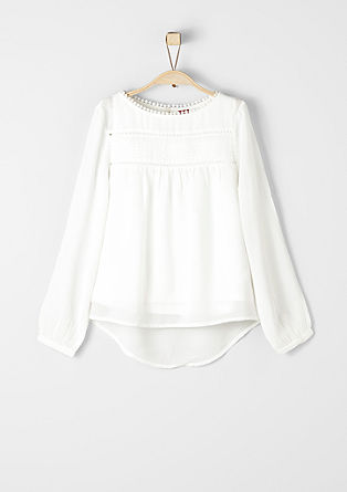 Krep bluza z luknjičastim vzorcem