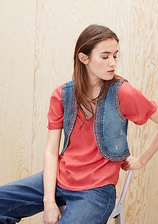 Kurze Jeansweste mit Stitchings