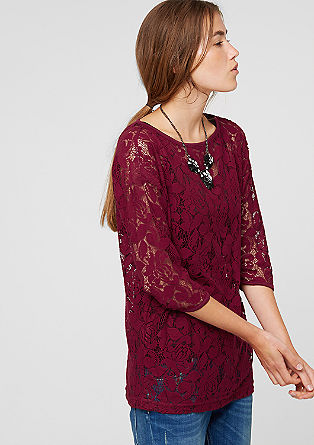 Lace top with 3/4-length sleeves from s.Oliver