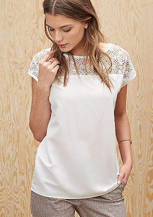 Lace top with a blouse-style front from s.Oliver