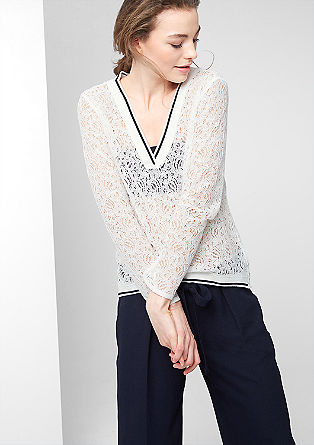 Lace top with ribbed cuffs and waistband from s.Oliver