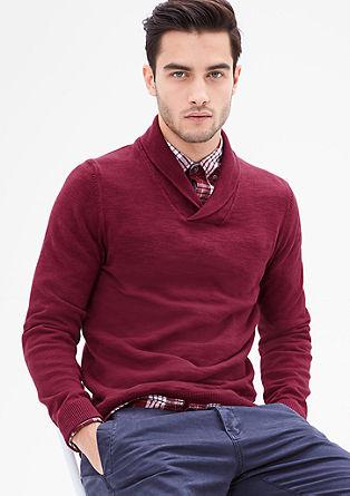 Lahek pleten pulover z ovratnikom