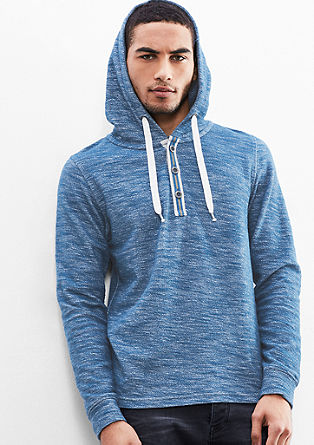 Lahek pulover s kapuco in obrobo z gumbi