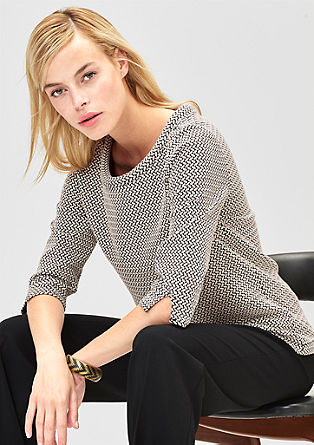 Lahek sweatshirt pulover z žakarskim vzorcem