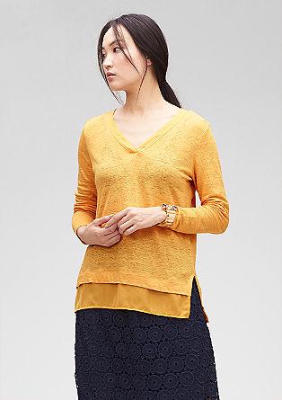 Lanena majica z elementi v slogu bluze