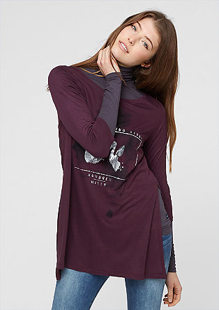 Lang shirt met een folieprint op het voorpand