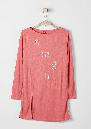 Lang shirt van een fijne ribstof