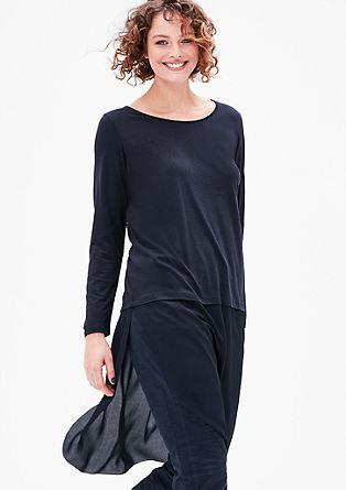 Lang shirt van lyocell in laagjeslook