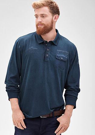 Langarm-Poloshirt in Ringeloptik