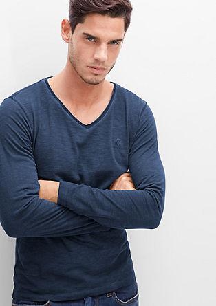 Langarmshirt in Garment Dye