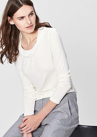 Langarmshirt mit Chiffon-Kragen