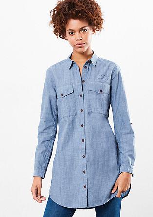 Lange blouse van chambray