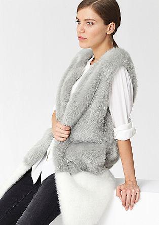 Lange Fake Fur-Weste