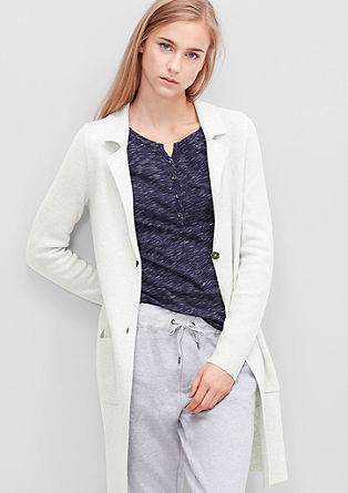 Lange Strickjacke mit Revers