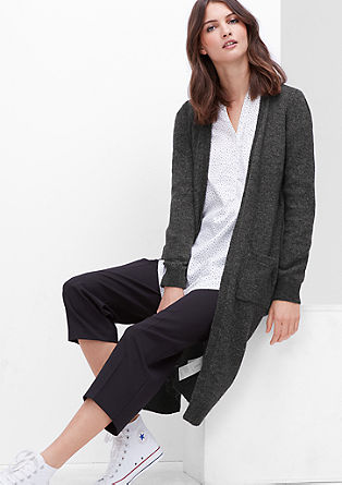 Lange Strickjacke mit Wolle
