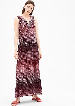 Langes Mesh-Kleid mit Muster