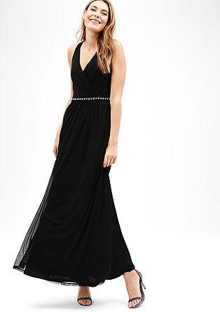Langes Mesh-Kleid mit Strass