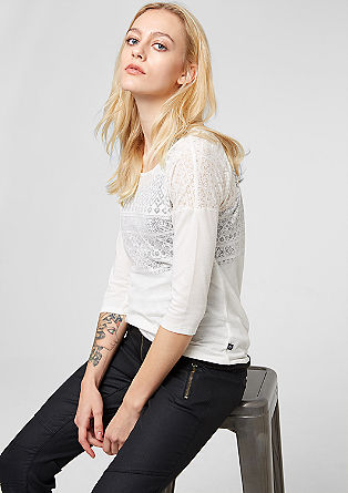Layer T-shirt with a burnt-out pattern from s.Oliver