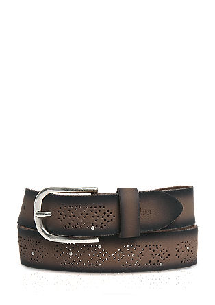 Leather belt with a perforated pattern from s.Oliver
