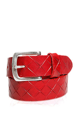 Leather belt with a textured pattern from s.Oliver