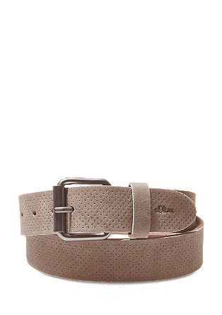 Leather belt with an embossed perforated effect from s.Oliver