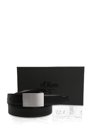 Leather belt with an interchangeable buckle from s.Oliver