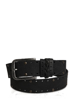 Leather belt with an openwork and studded pattern from s.Oliver