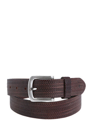 Leather belt with embossed pattern from s.Oliver